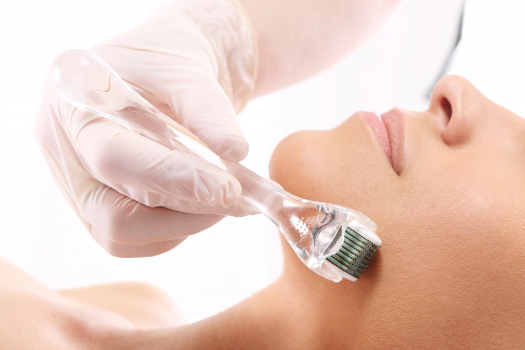 Woman during a microneedling procedure