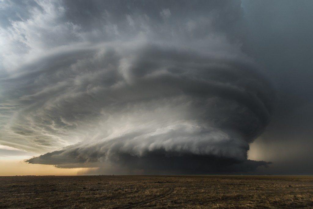 big tornado in a farm