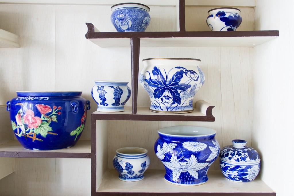 Ancient porcelain bowl placed on the shelves