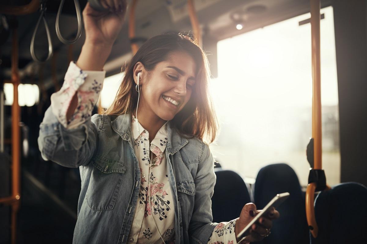 woman commuting alone