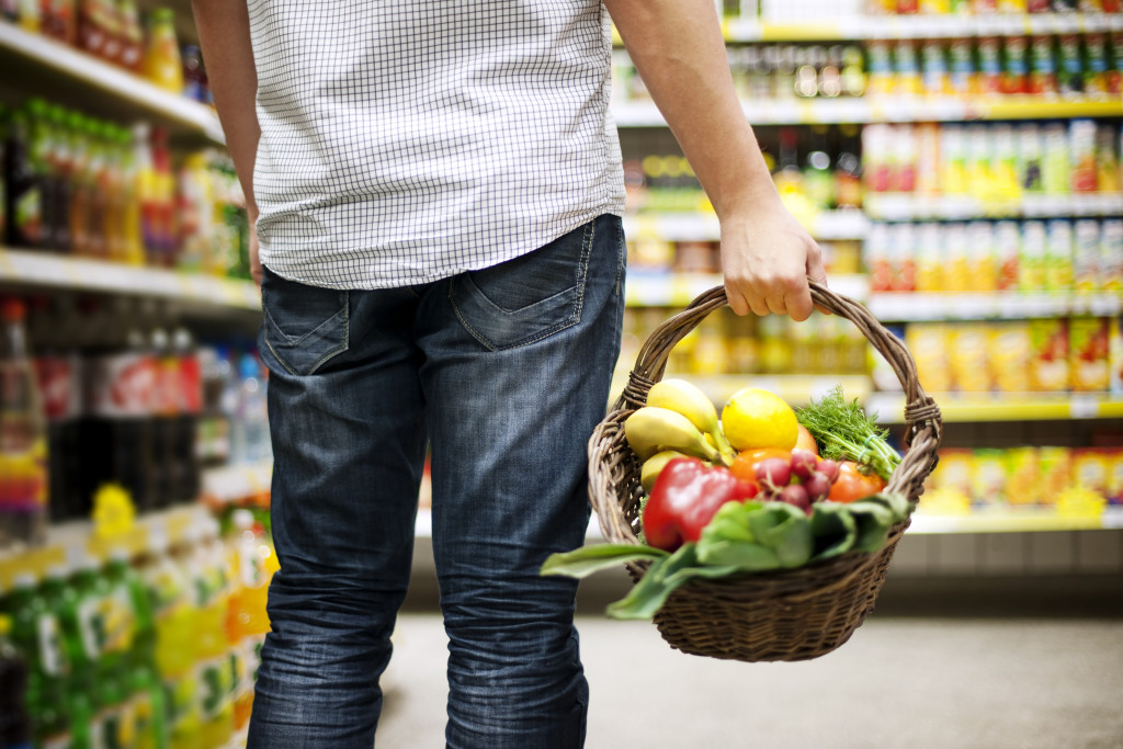 man buying healthy grocery